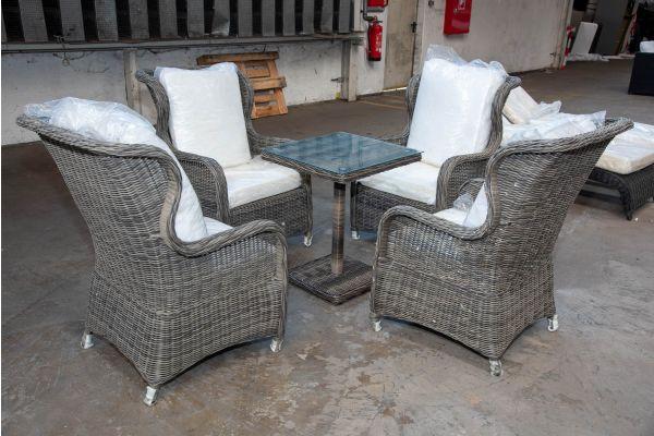 #HBM 2155: 4x Sessel Treviso mit Tisch Palermo 5mm graumeliert