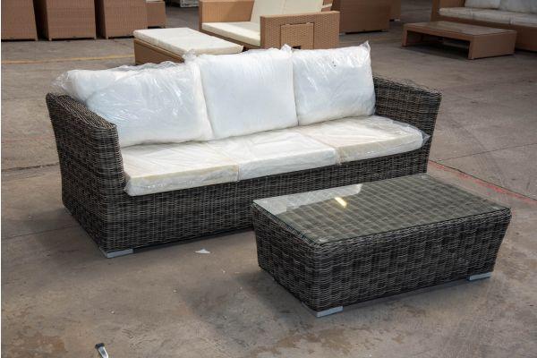 #HBM 2156: 3er Sofa Mandal mit Tisch Bergen 5mm graumeliert