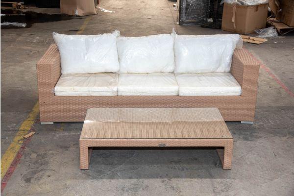 #HBM 2160: 3er Sofa mit Tisch Casablanca Flachrattan sand