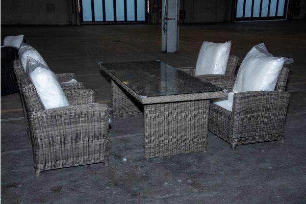 #HBM 2221: 4x Sessel Fisolo mit Tisch Fontana 5mm graumeliert