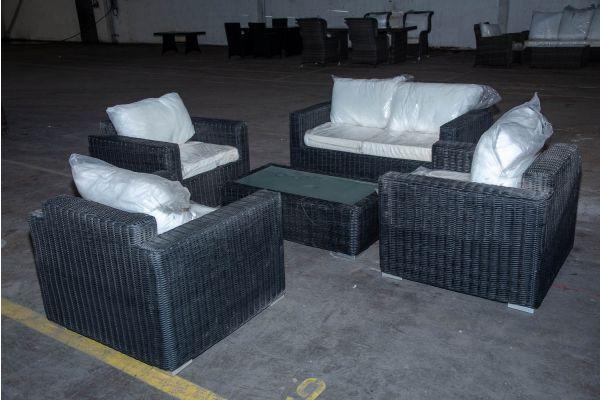 #HBM 2220: 2-1-1-1 Garnitur mit Tisch Madeira 5mm schwarz-schwarz