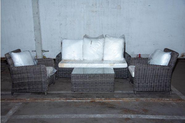 #HBM 2235: 3er Sofa/2x Sessel San Fernando mit Tisch Bergen 5mm graumeliert