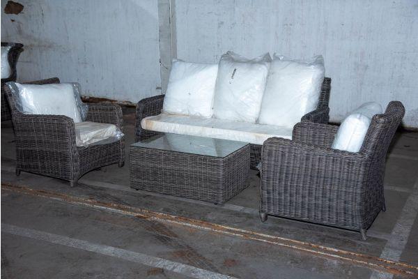 #HBM 2235: 3er Sofa/2x Sessel San Fernando mit Tisch Bergen 5mm graumeliert-grau-meliert