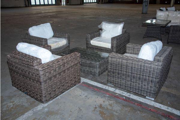 #HBM 2216: 4x Sessel Madeira mit Tisch Tibera 5mm graumeliert-grau-meliert