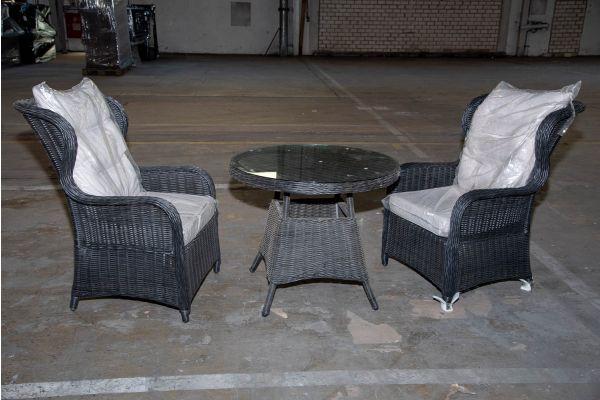 #HBM 2217: 2x Sessel Treviso mit Tisch Farsund 5mm schwarz