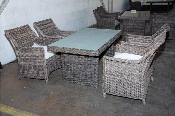 #HBM 2231: 4x Stuhl Sandnes mit Tisch Fisolo 5mm graumeliert
