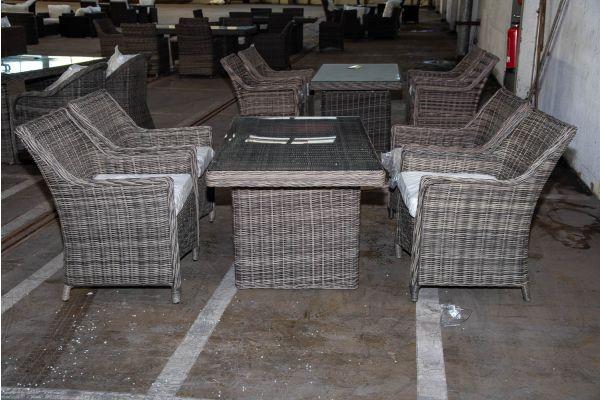 #HBM 2230: 4x Stuhl Sandnes mit Tisch Fisolo 5mm graumeliert
