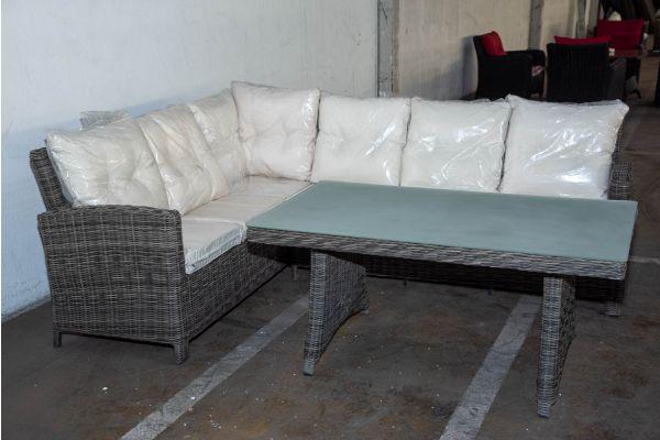 #HBM 2228: Garnitur Bermeo mit Tisch Sierra 5mm graumeliert-grau-meliert-cremeweiß