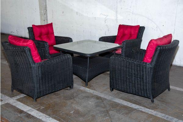 #HBM 2224: 4x Stuhl San Fernando mit Tisch Pandora 100x100 5mm schwarz-schwarz-rubinrot