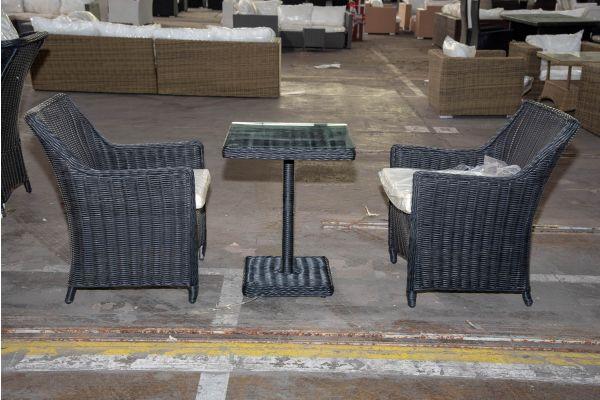 #HBM 2222: 2x Stuhl Sandnes mit Tisch Palermo 5mm schwarz-schwarz-cremeweiß
