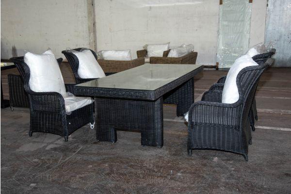 #HBM 2225: 4x Sessel Treviso mit Tisch Sandnes 5mm schwarz