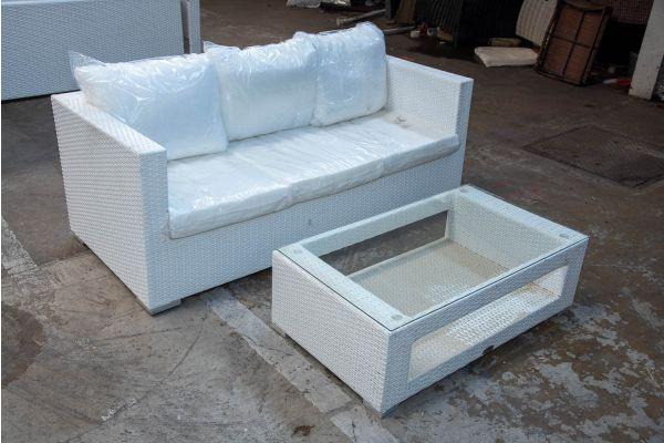 #HBM 2165: 3er Sofa Genero mit Tisch Honolulu Flachrattan weiß