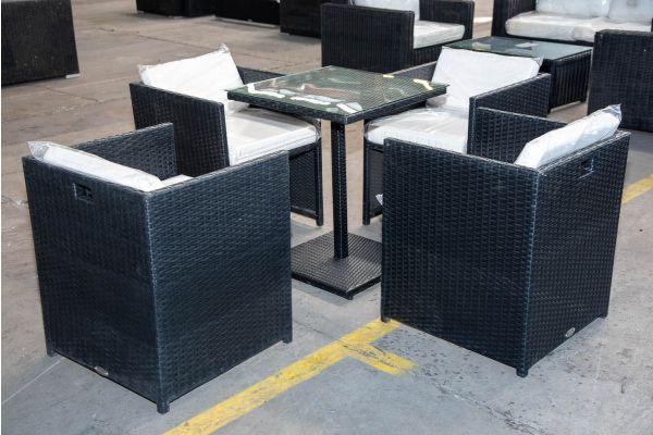 #HBM 2168: 4x Stuhl Maui mit Tisch Palermo Flachrattan schwarz-schwarz