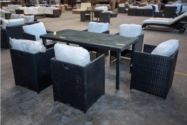 #HBM 2161: 6x Stuhl Maui mit Tisch Bondy 180 Flachrattan schwarz