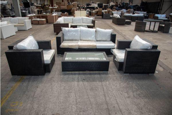 #HBM 2179: 3er Sofa/2x Sessel mit Tisch Provence Flachrattan schwarz-schwarz