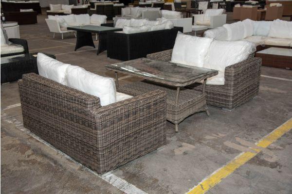 #HBM 2250: 2er Set 2er Sofa Madeira mit Tisch Pandora 130 5mm-grau-meliert