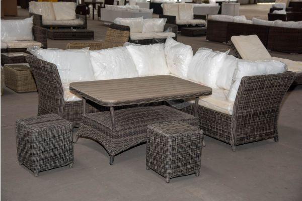 #HBM 2322: Garnitur Santa Lucia mit Tisch Pandora 120 und 2 Hocker Sorano 5mm-grau-meliert
