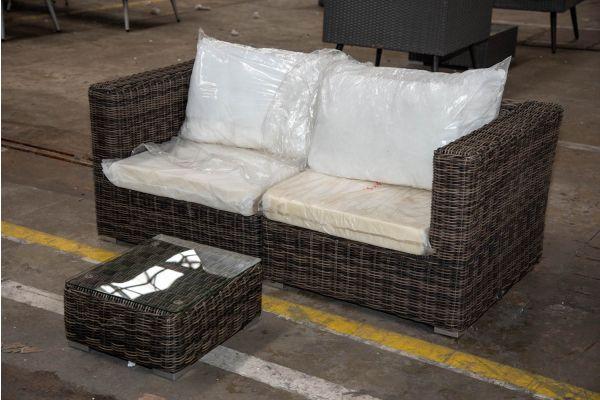#HBM 2320: 2er Sofa bestehend aus 2 Eckelementen Pamplona mit Tisch Atessa 5mm-grau-meliert