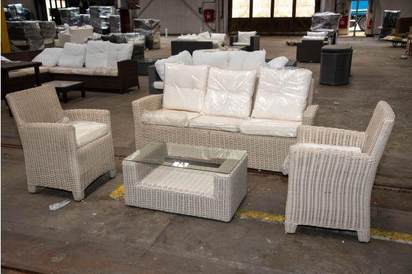 #HBM 2318: 2er Set Sessel Fontana mit 3er Sofa Fisolo und Tisch Costa Rica 5mm