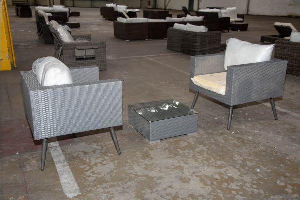 #HBM 2343: 2er Set Sessel Molde mit Tisch Ariano-grau