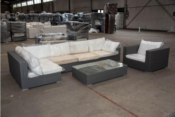 #HBM 2271: Eckgarnitur bestehend aus 1 Seiten-, 2 Mittel- und 1 Eckelement mit Sessel und Tisch Barcelona