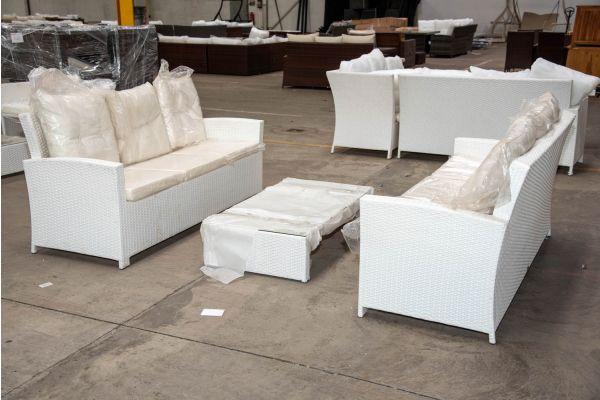 #HBM 2274: 2er Set 3er Sofa Fisolo mit Tisch Casablanca-weiß-cremeweiß