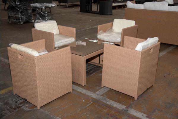#HBM 2266: 4er Set Stuhl Maui mit Tisch Casablanca-sand