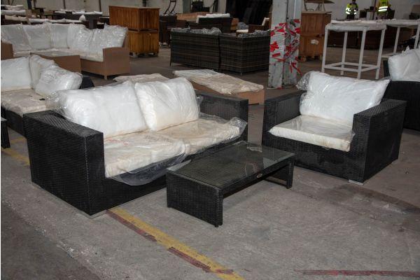 #HBM 2281: 2er Sofa bestehend aus 2 Eckelementen mit Sessel Barcelona und Tisch Casablanca-schwarz