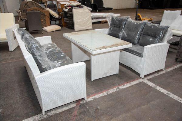 #HBM 2298: Sitzgruppe bestehend aus 2er Set 3er Sofa und Tisch Fisolo-weiß-anthrazit