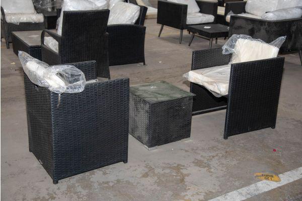 #HBM 2294: 2er Set Stuhl Maui mit Beistelltisch Barcelona-schwarz