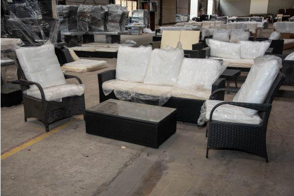 #HBM 2292: 3er Sofa Fisolo mit 2er Set Stuhl Pizzo und Tisch Tibera