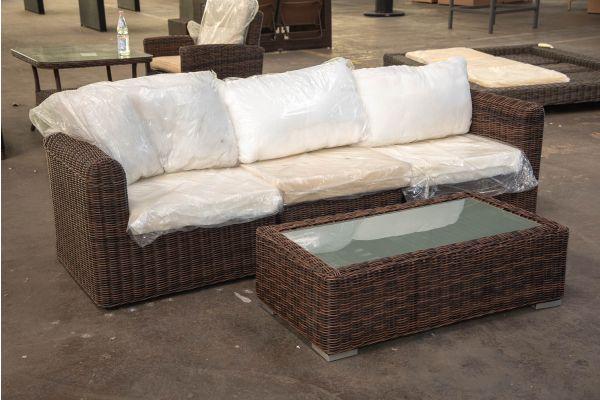 #HBM 2339: 3er Sofa bestehend aus 2 Eck- und 1 Mittelelement Marbella mit Tisch Madeira 5mm-braun-meliert