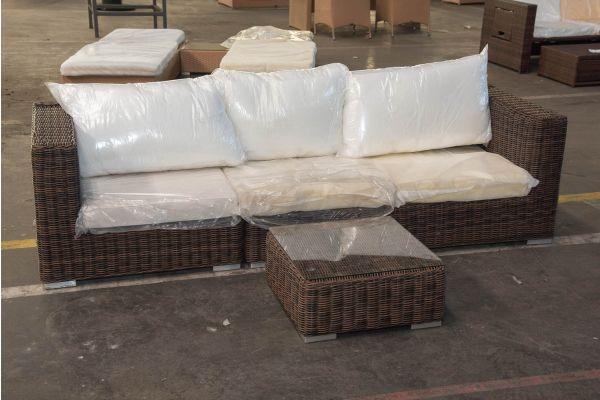 #HBM 2438: 3er Sofa bestehend aus 2 Seiten- und 1 Mittelelement mit Tisch Ariano 5mm-braun-meliert