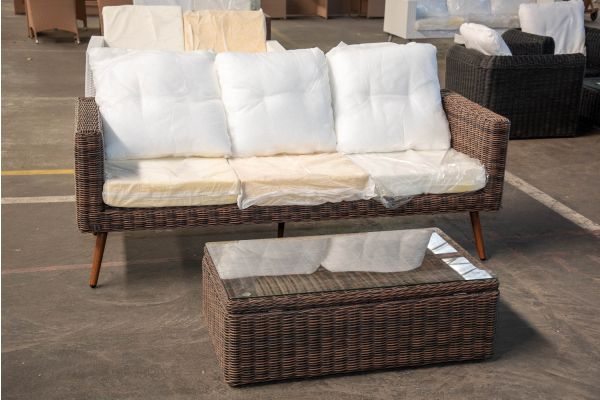 #HBM 2442: 3er Sofa Molde mit Tisch Tibera 5mm-braun-meliert