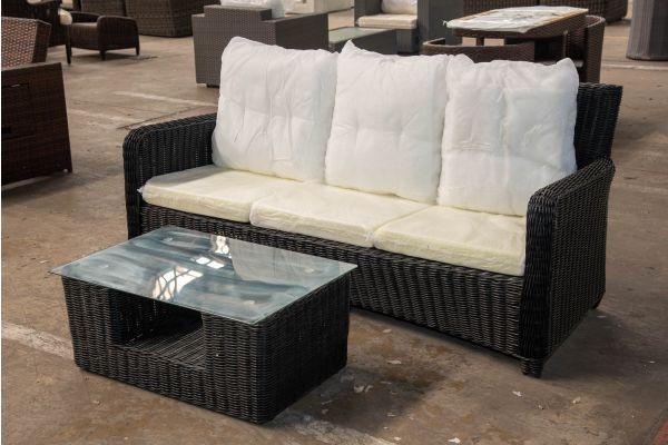 #HBM 2425: 3er Sofa San Fernando mit Tisch Moss 5mm-schwarz