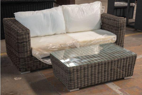 #HBM 2399: 2er Sofa bestehend aus 2 Seitenelementen Ariano mit Tisch Mandal 5mm-grau-meliert