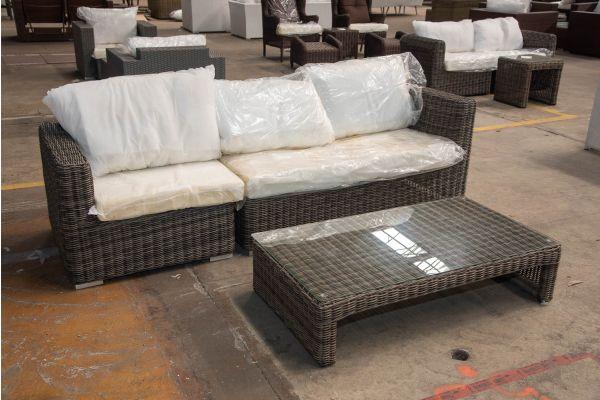 #HBM 2405: 3er Sofa bestehend aus 1 Seiten-und 1 Eckelement Tessera mit Tisch Casablanca 5mm-grau-meliert