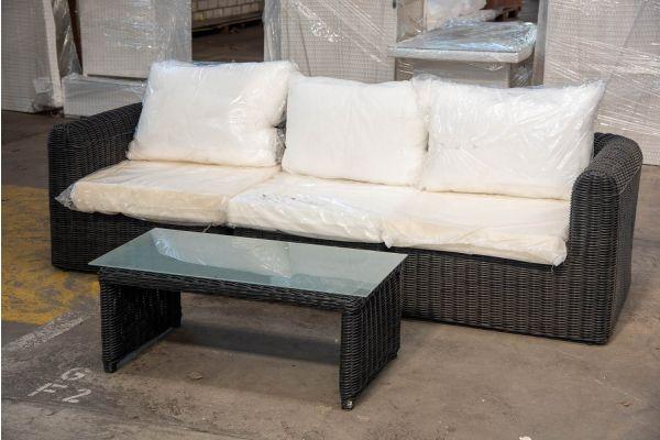 #HBM 2407: 3er Sofa bestehend aus 2 Seiten-und 1 Mittelelement Marbella mit Tisch Montero 5mm-schwarz