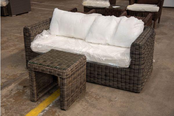 #HBM 2411: 2er Sofa bestehend aus 2 Eckelementen Marbella mit Tisch Casablanca 5mm-grau-meliert