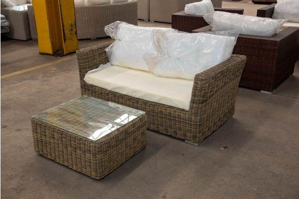 #HBM 2418: 2er Sofa Mandal mit Tisch Marbella 5mm-natura