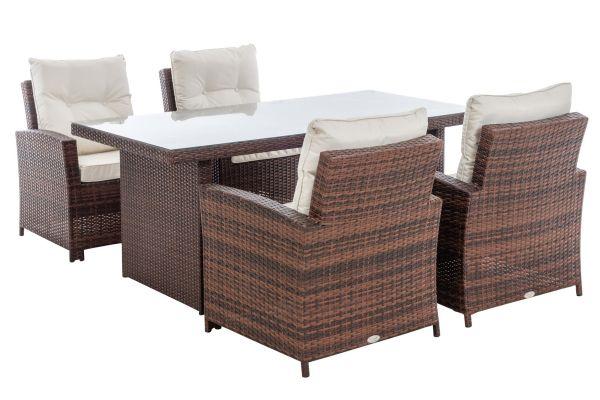 M# 4er Set Stuhl Fisolo mit Tisch Avignon 180-braun-meliert-cremeweiß