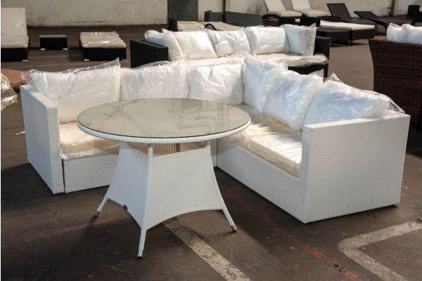 #HBM 2560: Eckgarnitur Siena mit Tisch Sanremo-weiß