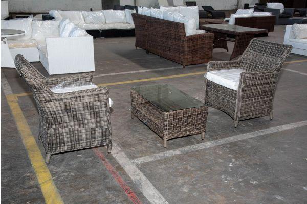 #HBM 2559: 2er Set Stuhl Sandnes mit Tisch Merida 5mm-grau-meliert