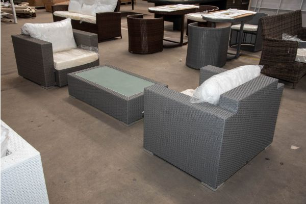 #HBM 2503: 2er Set Sessel mit Tisch Provence-grau