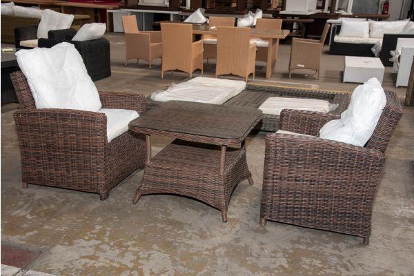 #HBM 2333: 2er Set Sessel Fisolo mit Tisch Pandora 80x80 5mm-braun-meliert