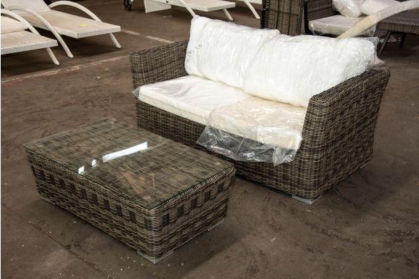 #HBM 2566: 2er Sofa mit Tisch Mandal 5mm-grau-meliert