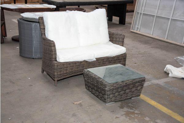 #HBM 2402: 2er Sofa Merida mit Tisch Ariano 5mm-grau-meliert