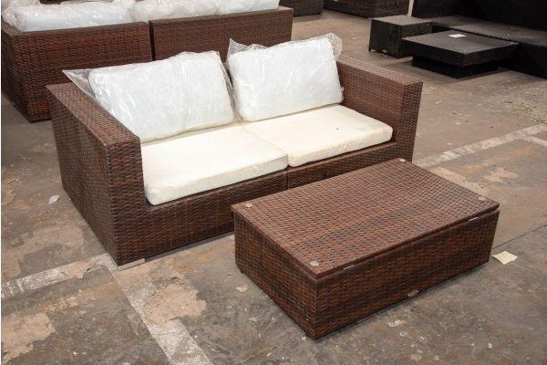 #HBM 2518: 2er Sofa bestehend aus 2 Eckelementen Barcelona mit Tisch Tibera-braun-meliert
