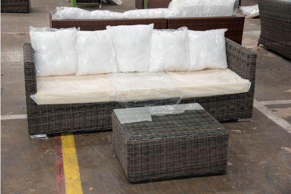 #HBM 2511: 3er Sofa Sorano mit Tisch Marbella 5mm-grau-meliert
