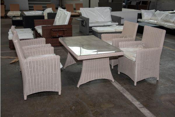 #HBM 2584: 4er Set Stuhl Fontana mit Tisch Sorano 5mm-perlweiß